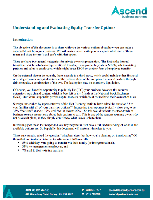 Equity transfer options